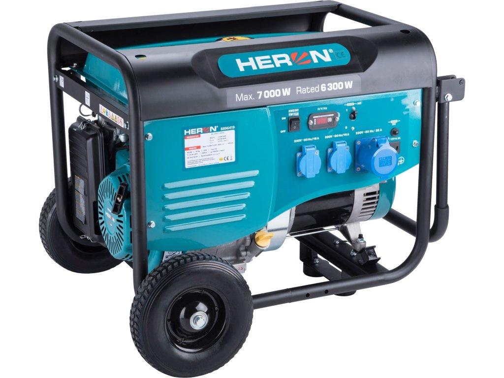 Elektrocentrála HERON benzínová 7,0kW/15HP, pro svařování, podvozek