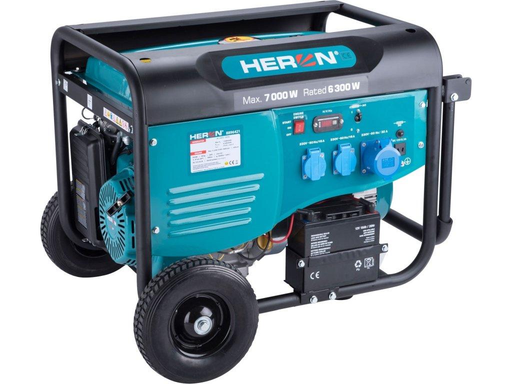 Elektrocentrála HERON benzínová 7,0kW/15HP, pro svařování, elektrický start, podvozek