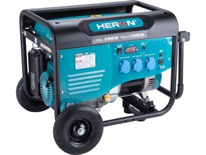 Elektrocentrála HERON benzínová 5,5kW/13HP, pro svařování, podvozek