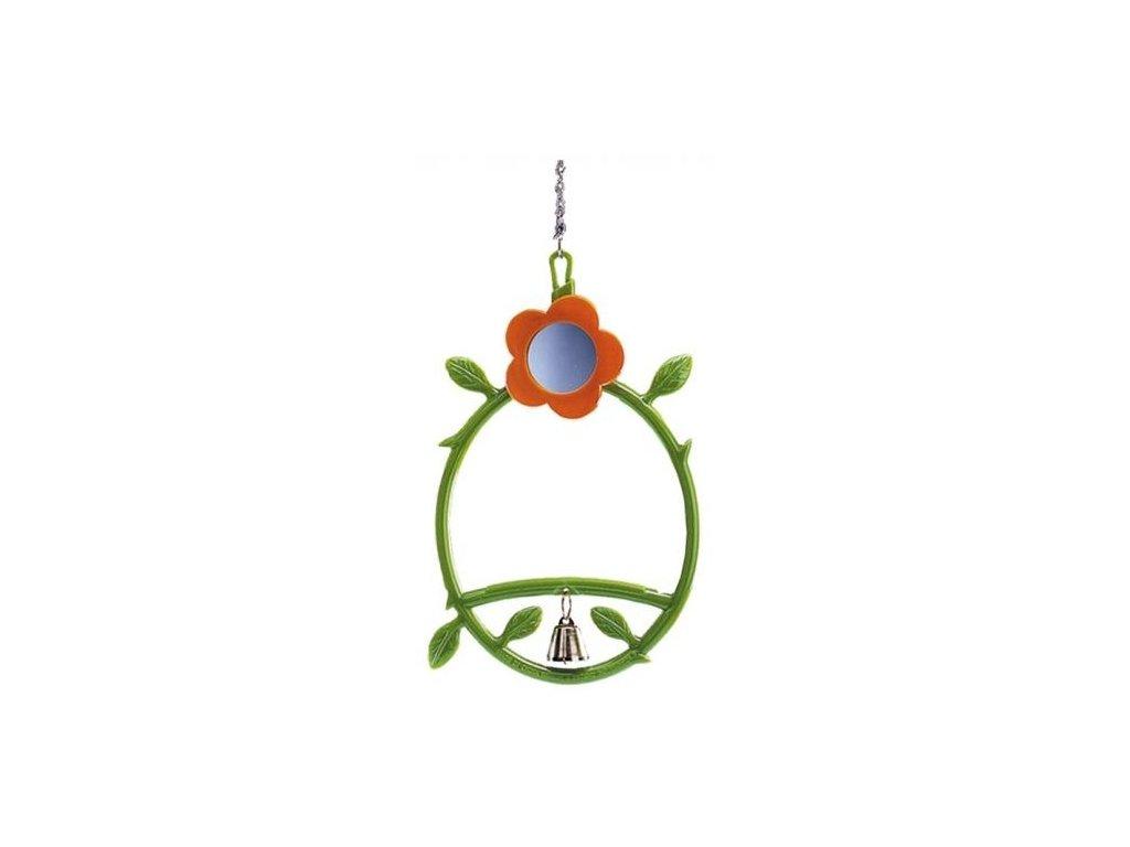 Hračka pro malé papoušky houpačka, zrcátko a zvoneček 24cm