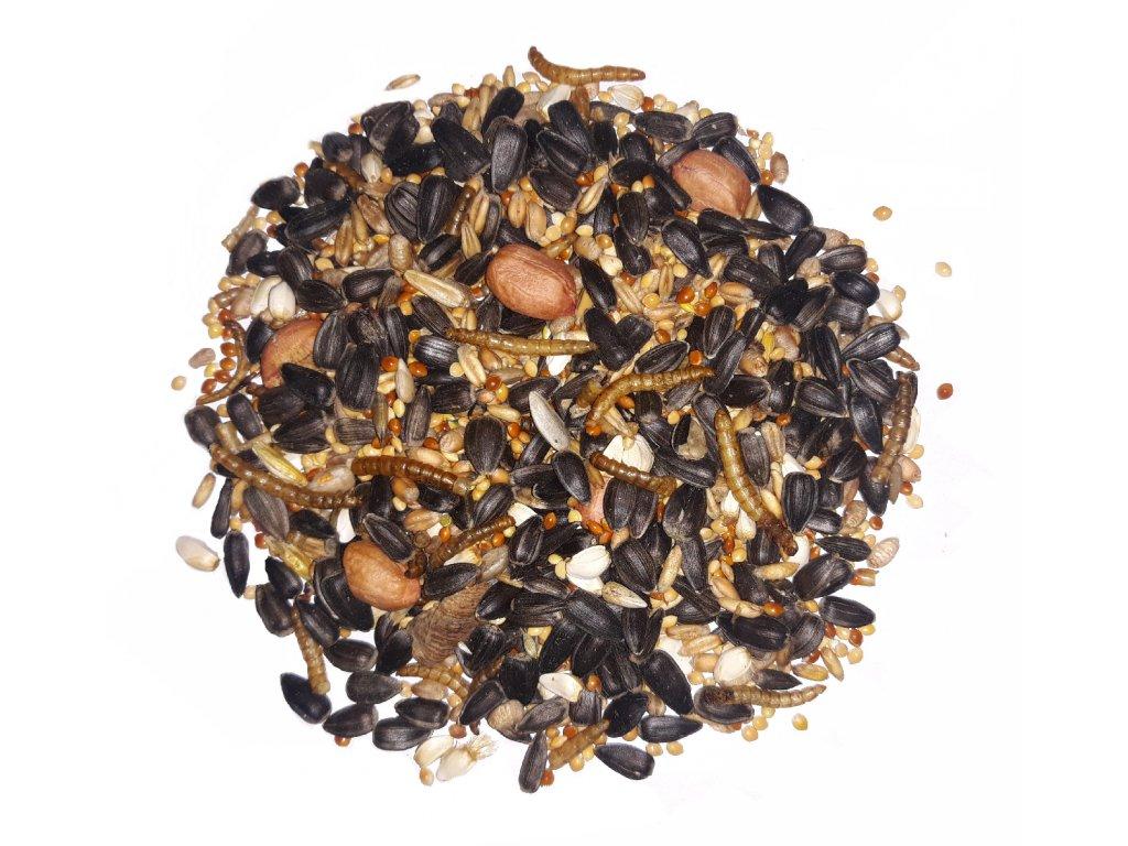 krmítková směs s arašídy a hmyzem