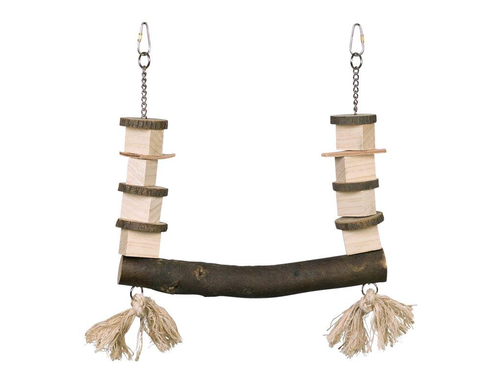 Dřevěná houpačka pro papoušky 30 x 37 cm