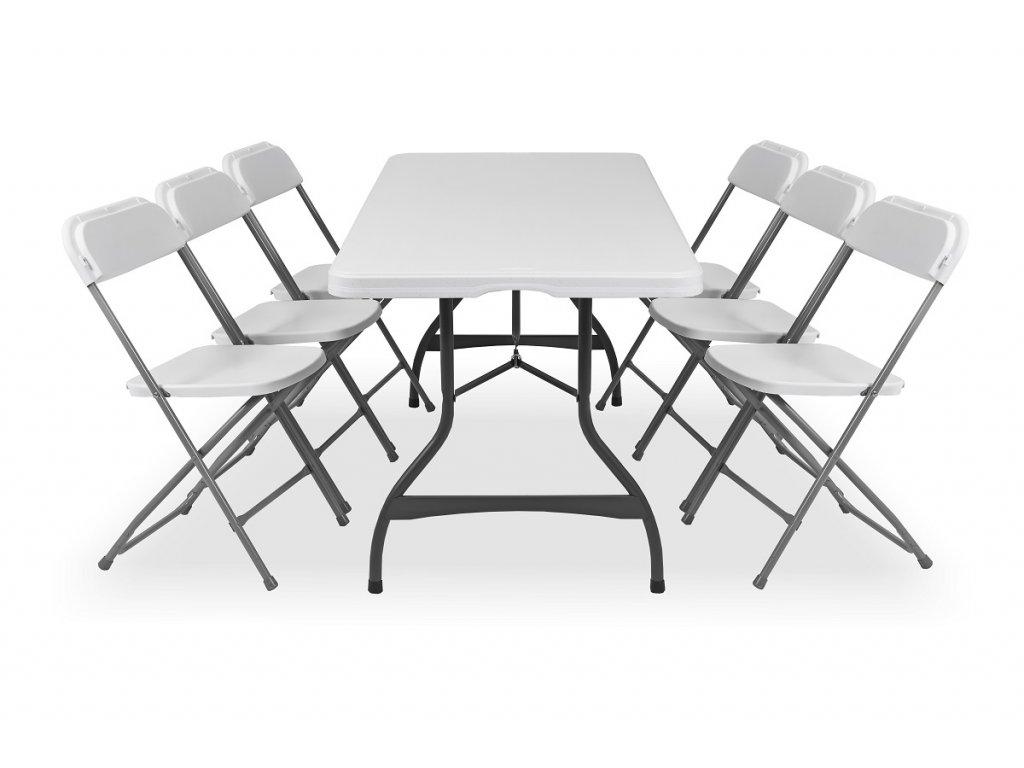 Skládací stůl se 6 židlemi, barva bílá