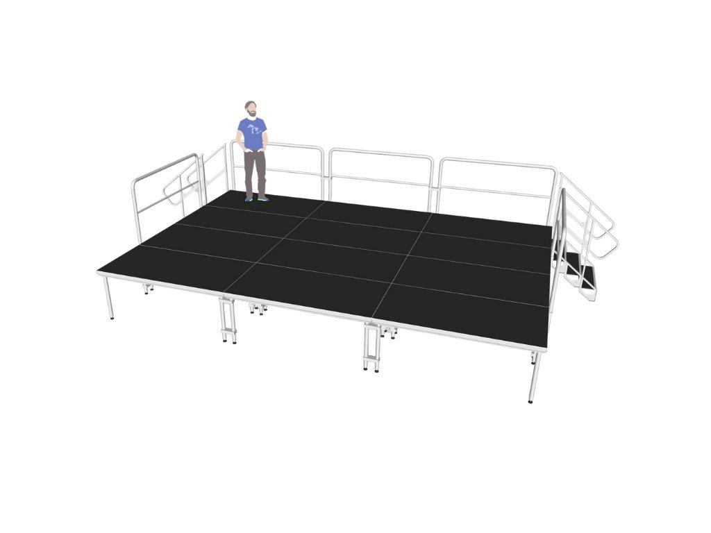 Mobilní pódium L - 6 x 3 m se schody