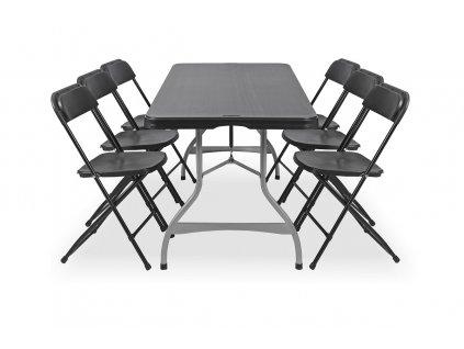 Skládací stůl se 6 židlemi, černý