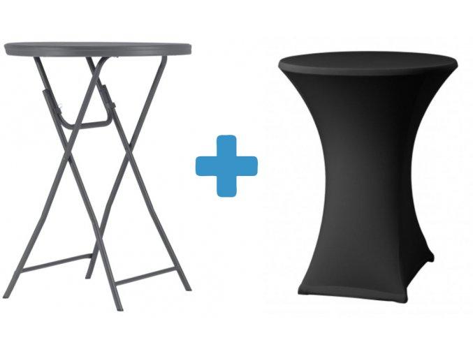 Tmavě šedý koktejlový stůl s černým potahem
