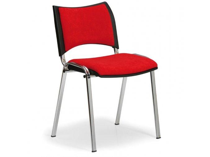 Konferenční židle SMART, chromová, červená