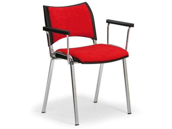 Konferenční židle SMART s područkami, červená