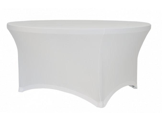 Strečový potah na kulatý stůl, bílý
