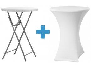 Bistro stolek s bílým potahem