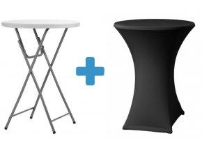 Bistro stolek s černým potahem
