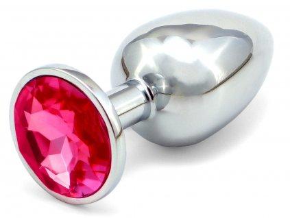 Anální kovový kolík s krystalem - tmavě růžový