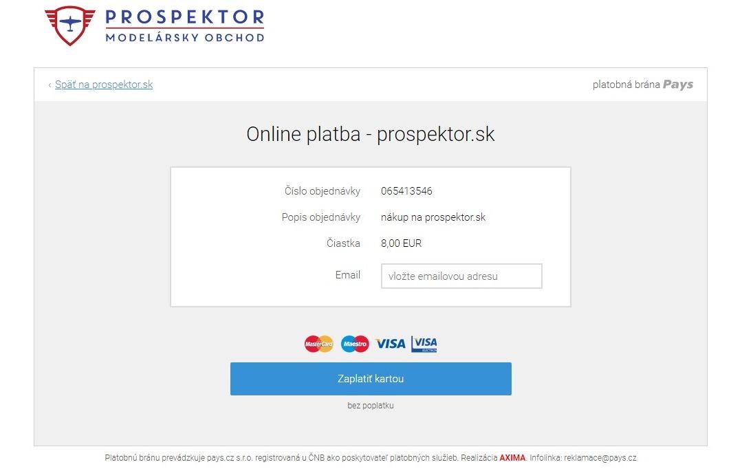 Nový spôsob platby - platba kartou cez online platobný terminál