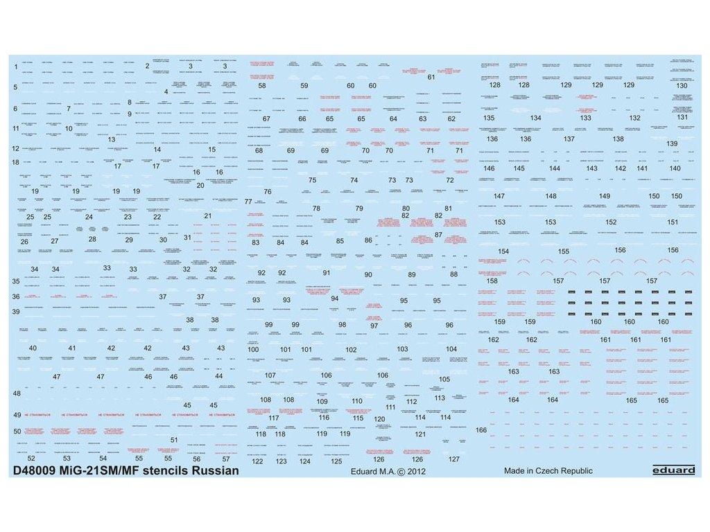 MiG-21 stencils Russian / ruské popisky 1:48