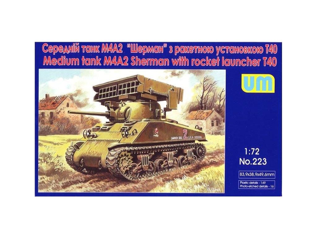 Tank M4A2 with T40 rocket launcher 1:72