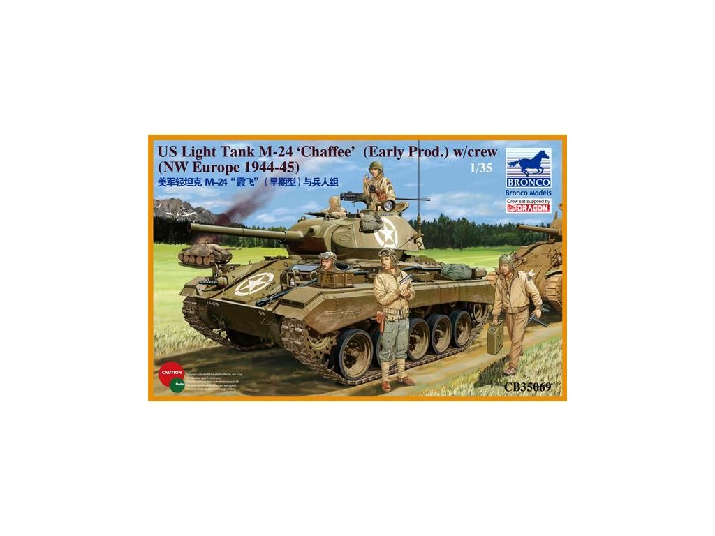 US Light Tank M-24 'Chaffee' (WWII Prod.) with Tank Crew Set 1:35