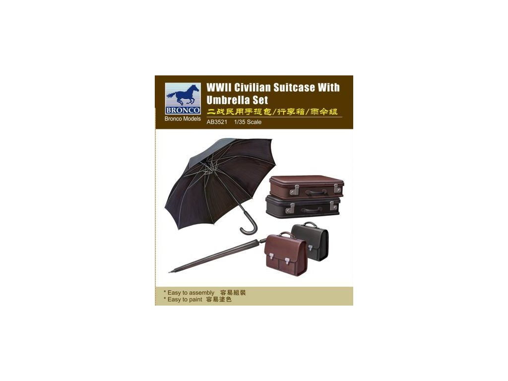 WWII Civilian Suitcase with Umbrella Set 1:35