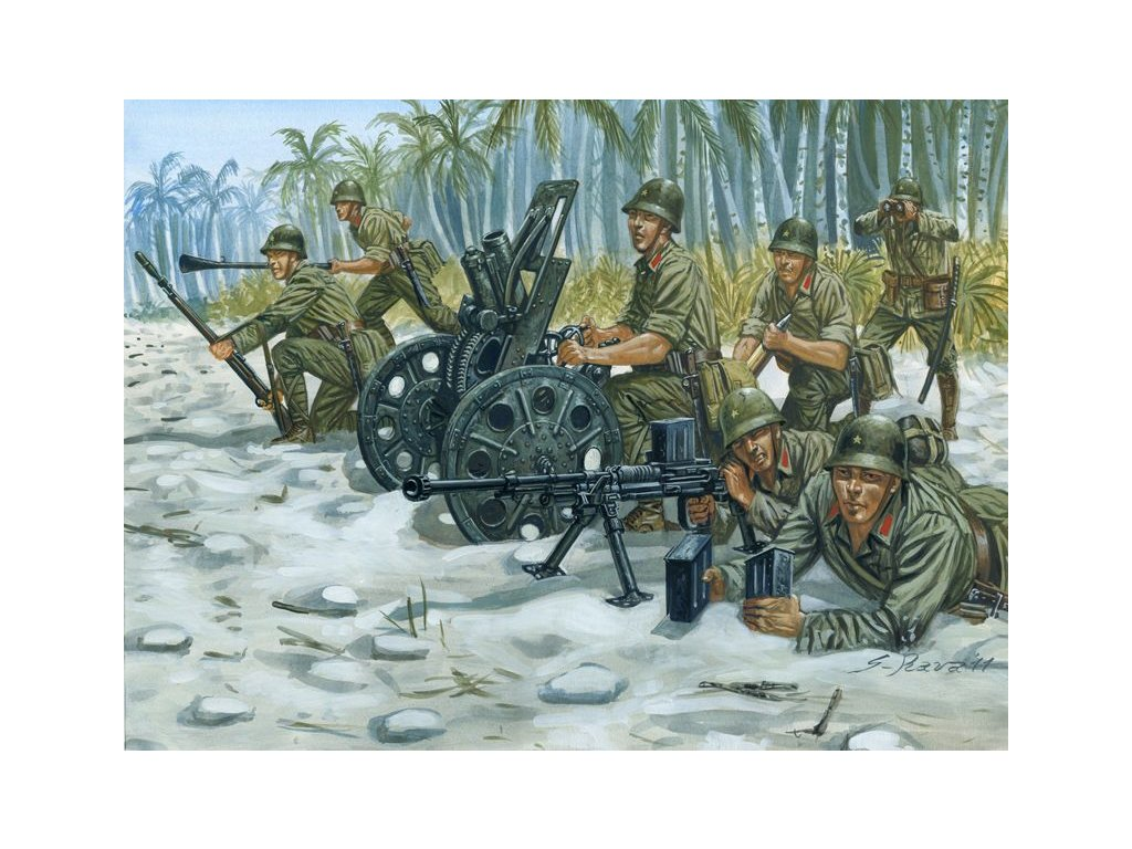 WWII: JAPANESE M92 Light Howitzer and AT Team 1:72