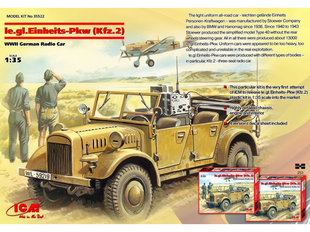 le. gl. Einheits-Pkw (Kfz.2), WWII German Radio Car 1:35