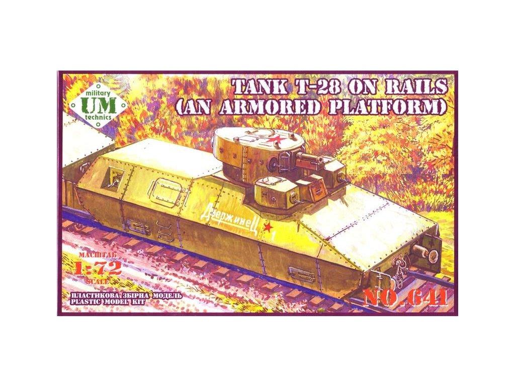 Tank T-28 on rails (an armored platform) 1:72