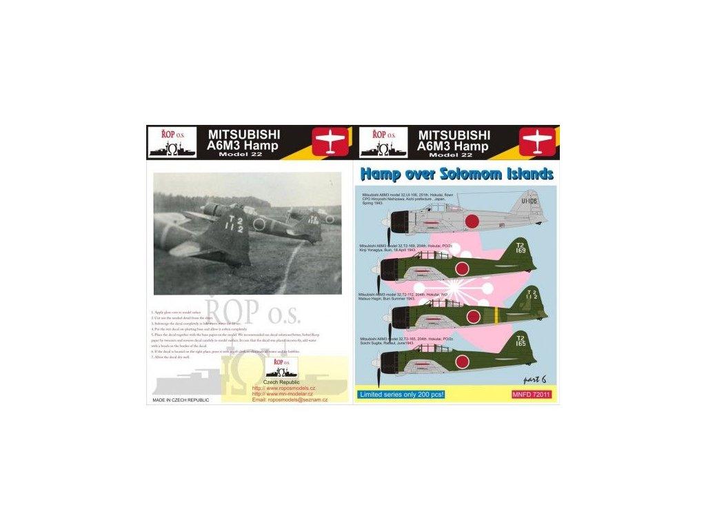 Obtlačky pre Mitsubishi A6M3 Hamp Model 32 - Hamp over Solomon Islands (Part 6) 1:72
