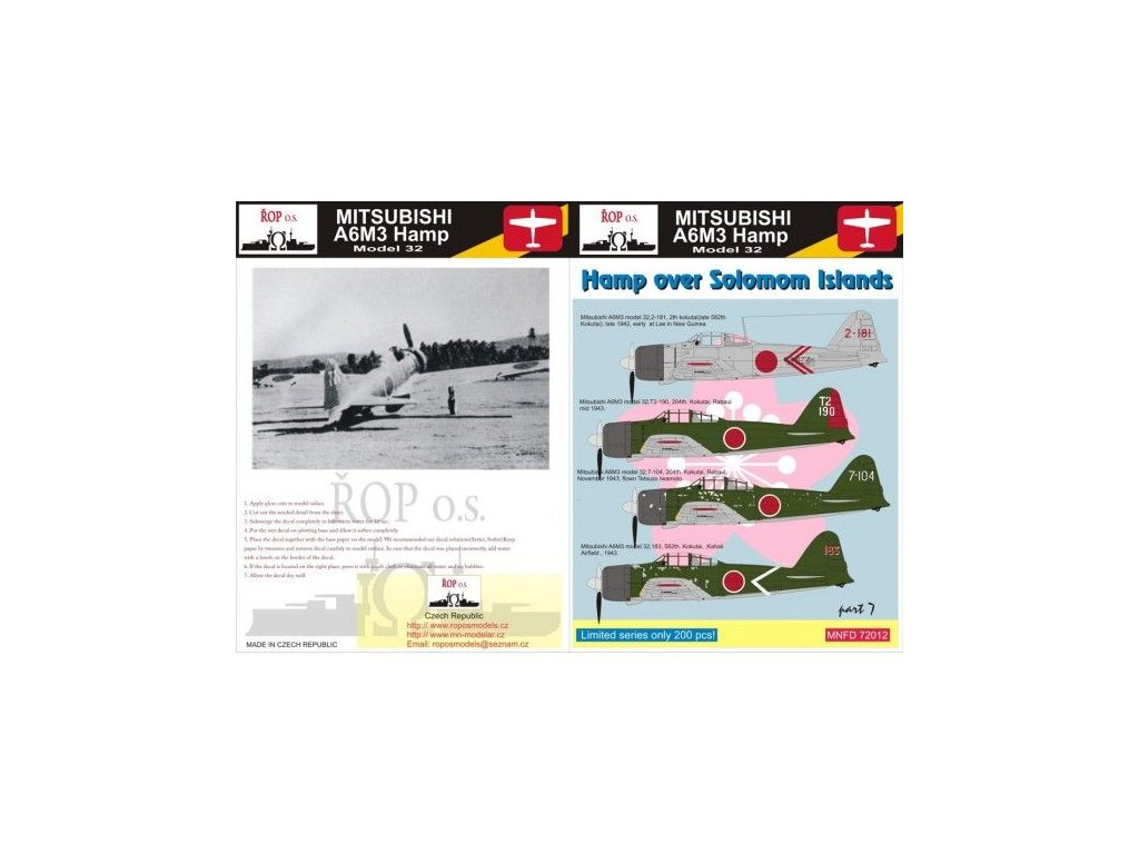 Obtlačky pre Mitsubishi A6M3 Hamp Model 32 - Hamp over Solomon Islands (Part 7) 1:72