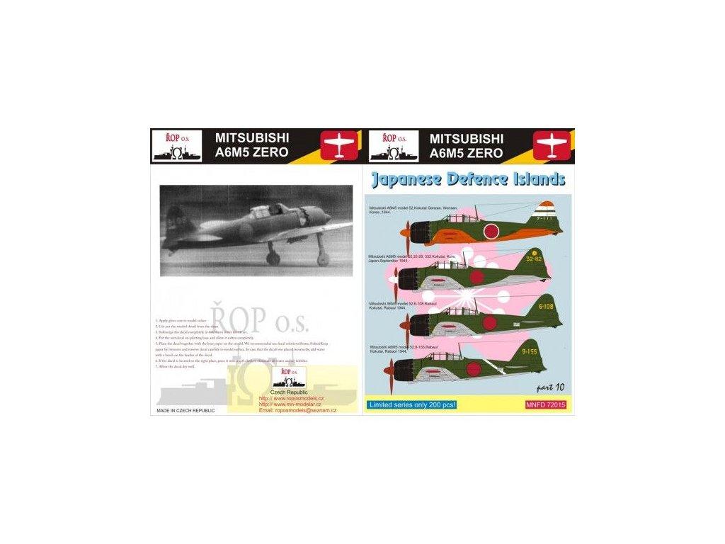 Obtlačky pre Mitsubishi A6M5 Zero Model 52 - Japanese Defence Islands 1:72