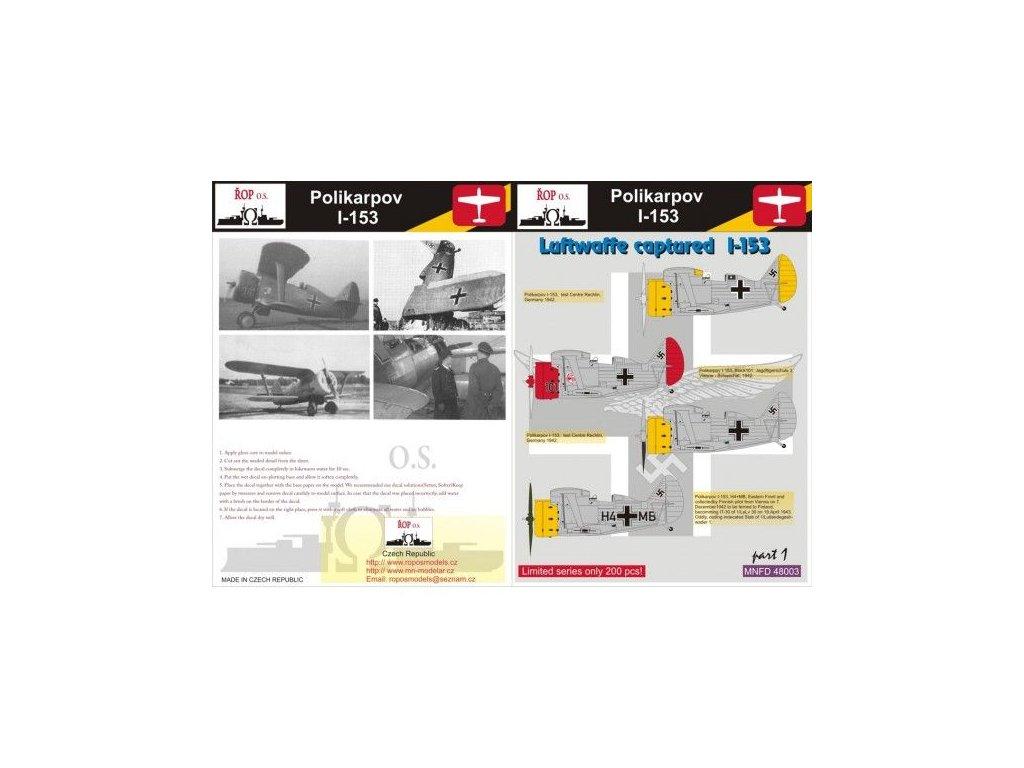 Obtlačky pre Polikarpov I-153 Rata - Luftwaffe captured I-153 1:48