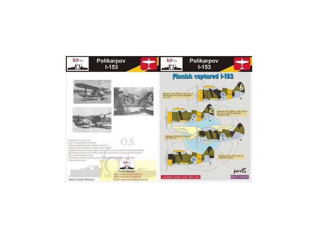 Obtlačky pre Polikarpov I-153 Rata - Finnish captured I-153 (Part 5) 1:48