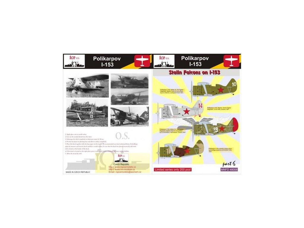 Obtlačky pre Polikarpov I-153 Rata - Stalin Falcons on I-153 (Part 6) 1:48