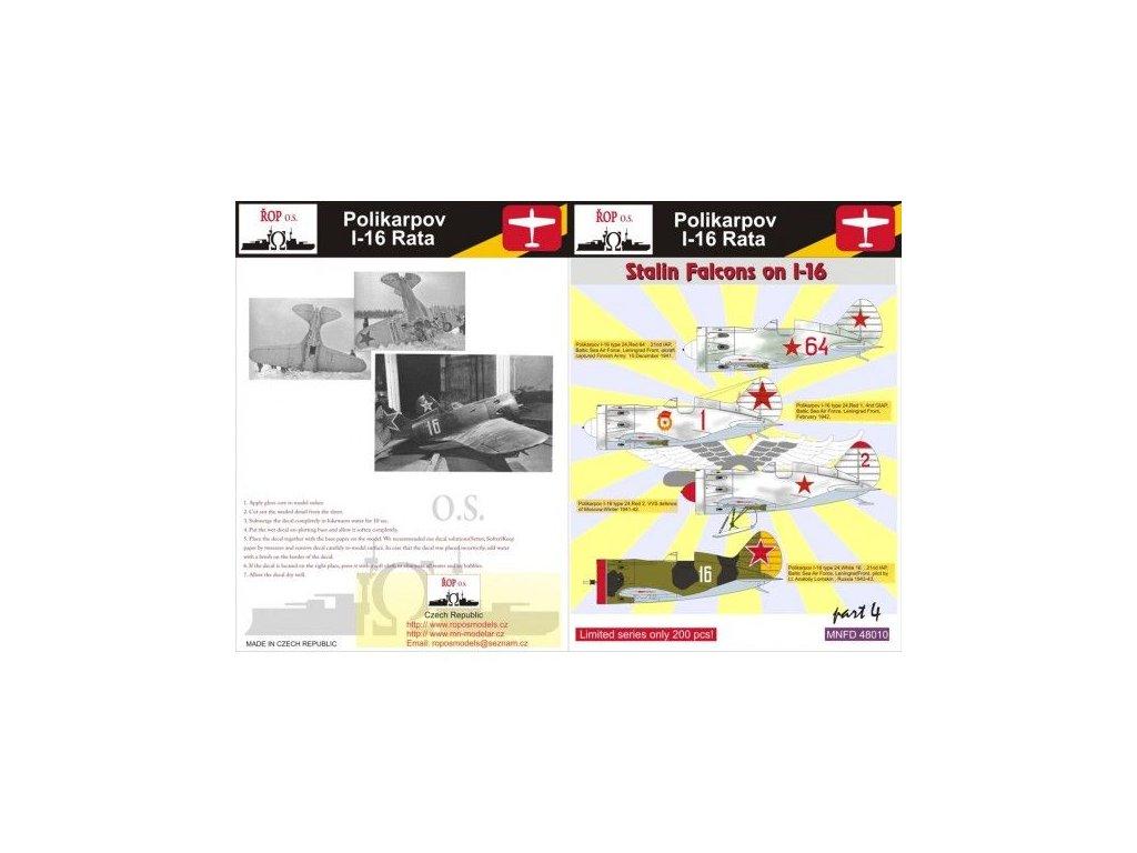 Obtlačky pre Polikarpov I-16 Rata - Stalin Falcons on I-16 (Part 4) 1:48