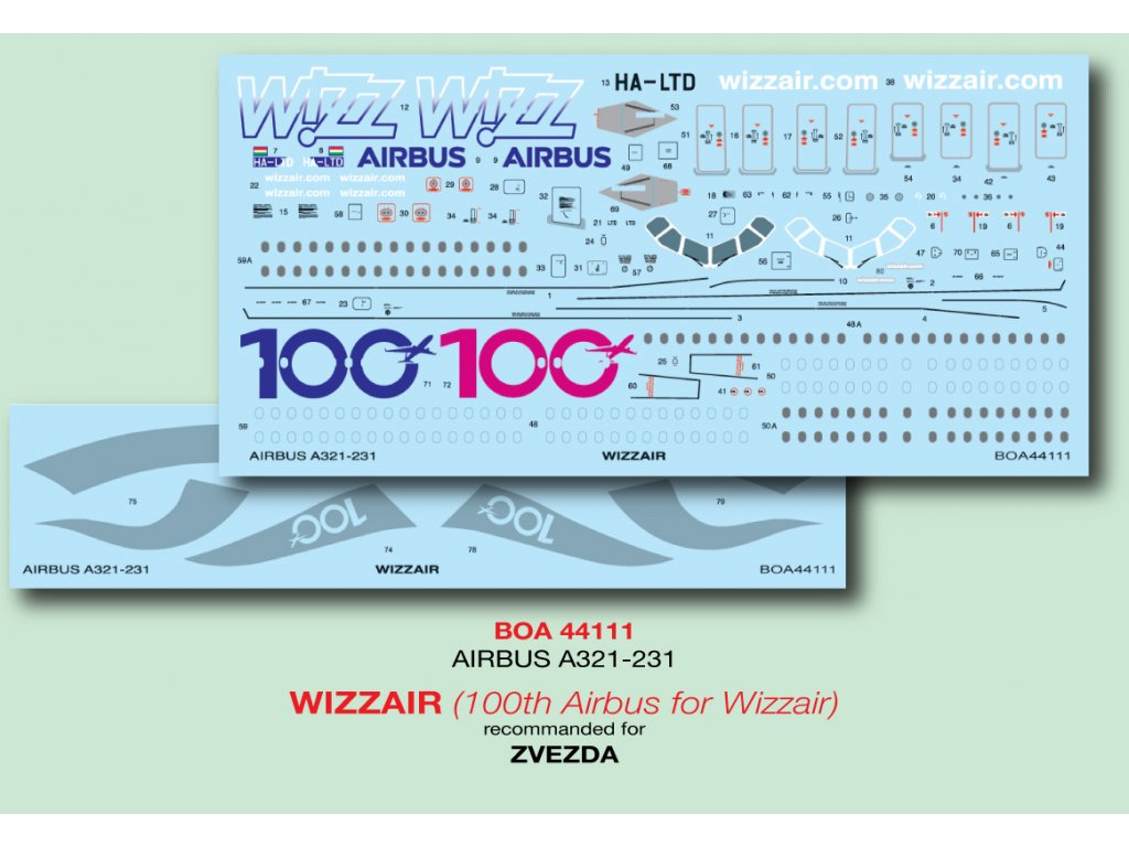 Airbus A321-231 Wizzair (100th Airbus for Wizzair) 1:144
