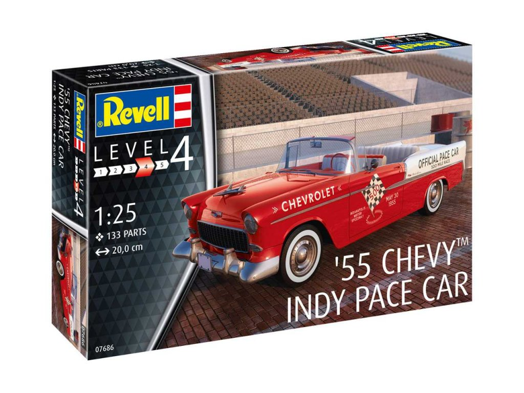Plastic ModelKit auto 07686 55 Chevy Indy Pace Car 1 25 a99290449 10374