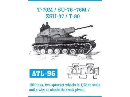 Kovové pásy T-70M / SU-76 - 76M / ZSU-37 / T-80 1:35