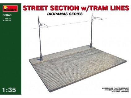 Časť ulice s električkovou traťou - Street section w/tram lines 1:35