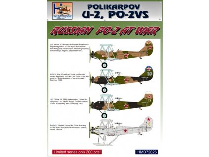 Decals Polikarpov Po-2 at war (4x camo) 1:72