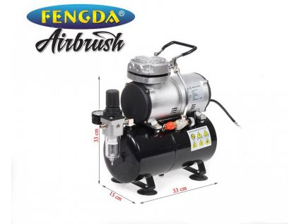 12581 11009 vyr 2355airbrush kompresor Fengda AS 186 jednovalcovy airbrush kompresor