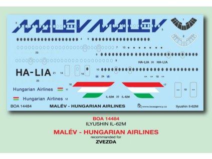 Obtlačky pre Il-62M MALÉV Hungarian Airlines (Zvezda) 1:144