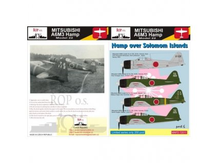 Obtlačky pre Mitsubishi A6M3 Hamp Model 32 - Hamp over Solomon Islands (Part 6) 1:72
