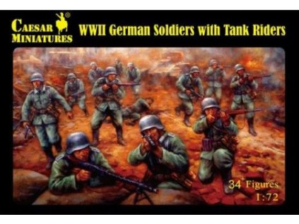 WWII German Soldiers with Tank Riders 1:72