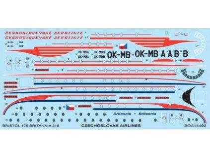 Obtlačky pre Bristol Britannia (CSA Czech Airlines) 1:144