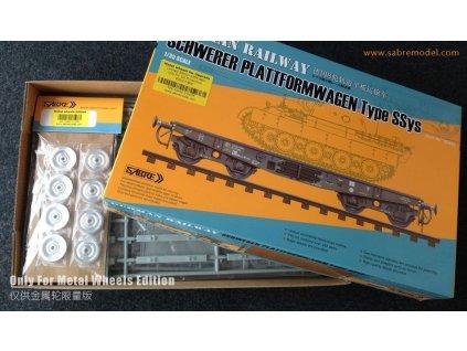 Nemecký železničný vagón typ Ssys + kovové kolesá 1:35