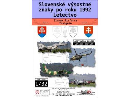 Obtlačky pre Slovenské výsostné znaky po r. 1992 letectvo 1:32