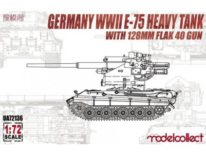 E-75 Heavy Tank with 128mm flak 40 gun 1:72