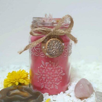 Meditační svíčka s gravírovanou mandalou