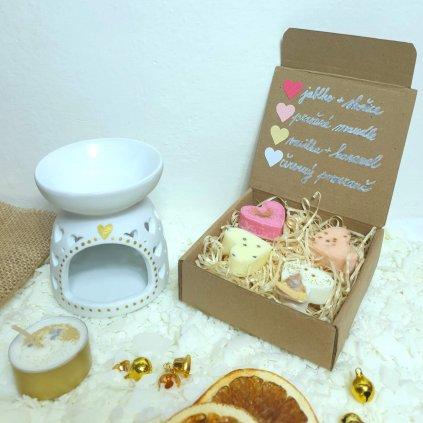 Set aromalampa + čajová svíčka + sada vonných vosků