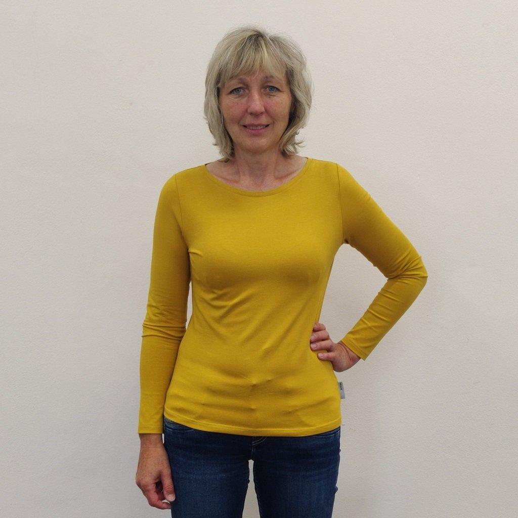Projmuté tričko s dlouhým rukávem hořčicově žluté