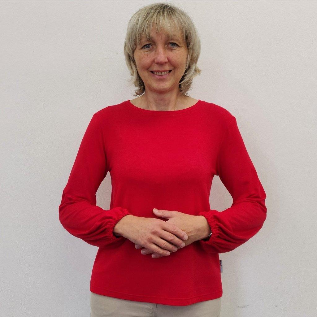 Tričko s nabranými rukávy červené  modal krásně splývá a zlehka chladí