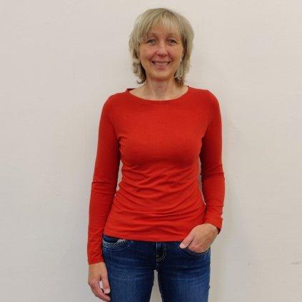 Projmuté tričko s dlouhým rukávem světle terakotová