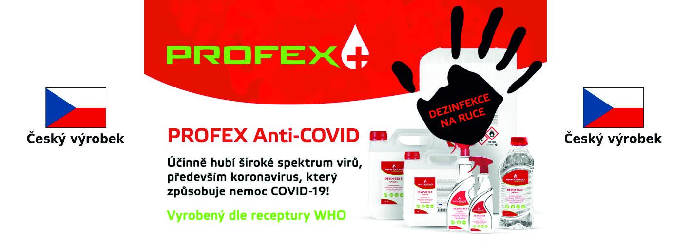 Dezinfekce PROFEX Anti-COVID, dezinfekční gel, ochrana proti koronaviru